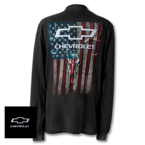 CHEVY, Chevrolet Skulls and Stripes Long Sleeve Shirt