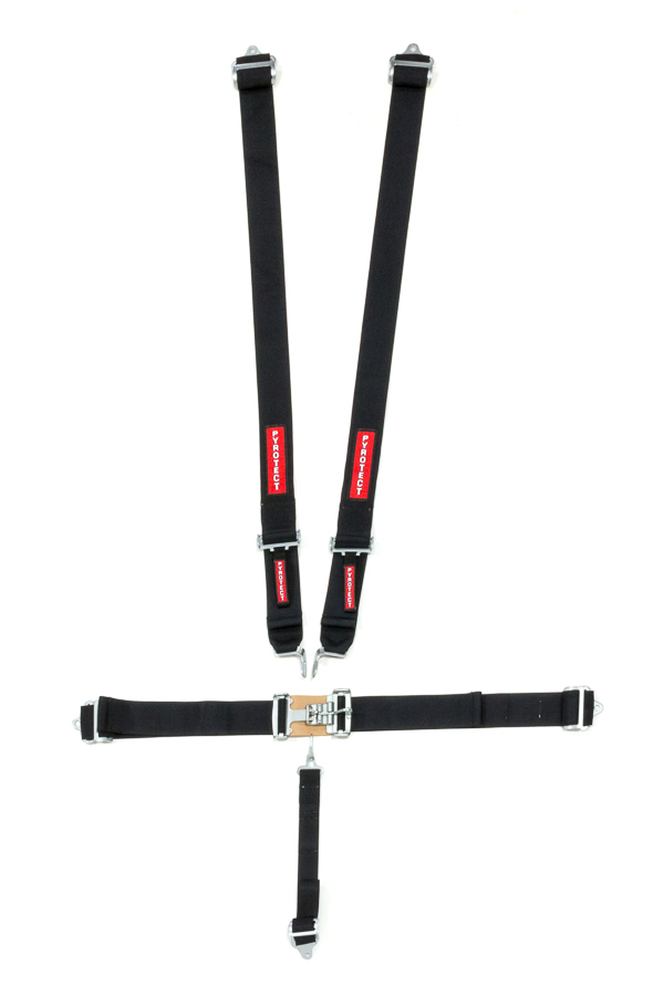 Harness, 5 Point, Latch and Link, SFI 16.1, 80 in Length, Pull Down Adjust, Bolt-On, Harness, Black, Kit