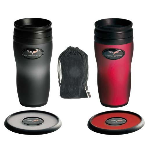 C6 Corvette Crossed Flag Logo SOFT TOUCH MUG SET Travel Thermal Stainless Steel Tumbler