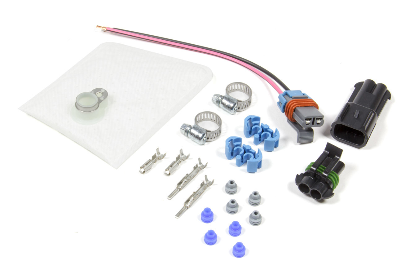 Walbro 450 LPH E85 Compatible Fuel Pump Wiring Harness, Filter, Clamp Kit for C6 Corvette