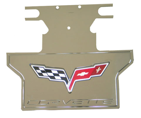 Billet Exhaust Plate With Emblem - C6 Corvette Stock Exhaust (except Z06)