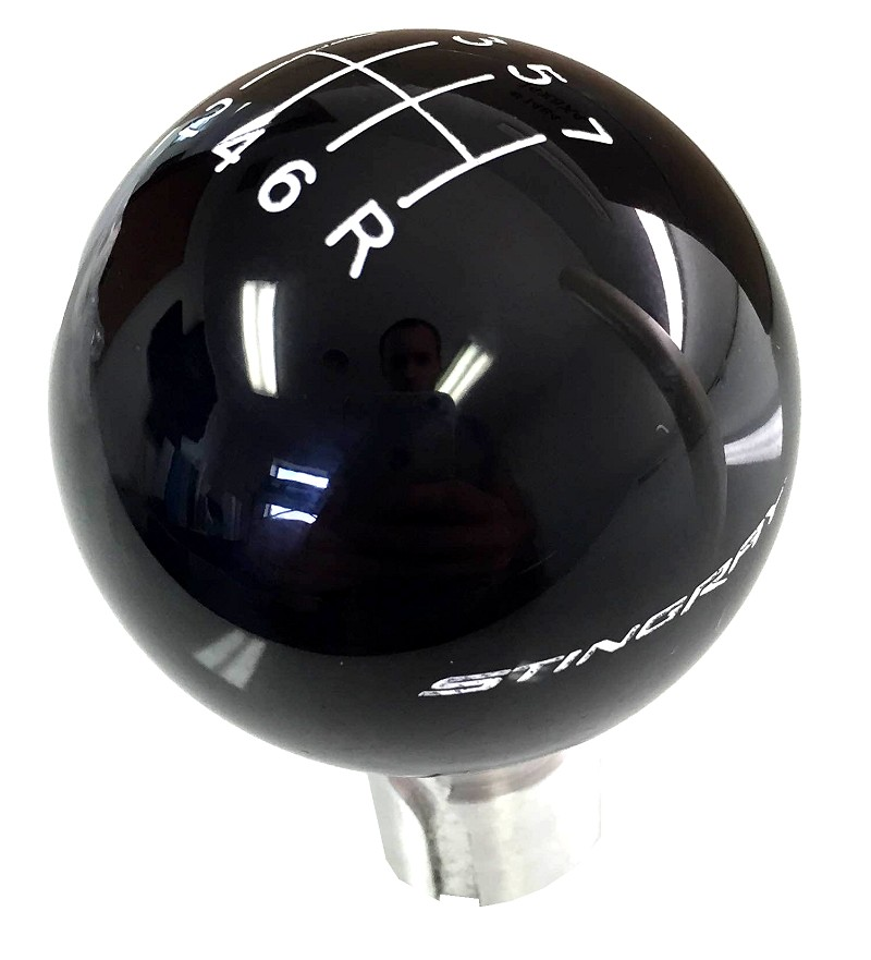 C7 Corvette 14-19 Shifter Knob - Black 7 Speed With White Pattern And STINGRAY Logo
