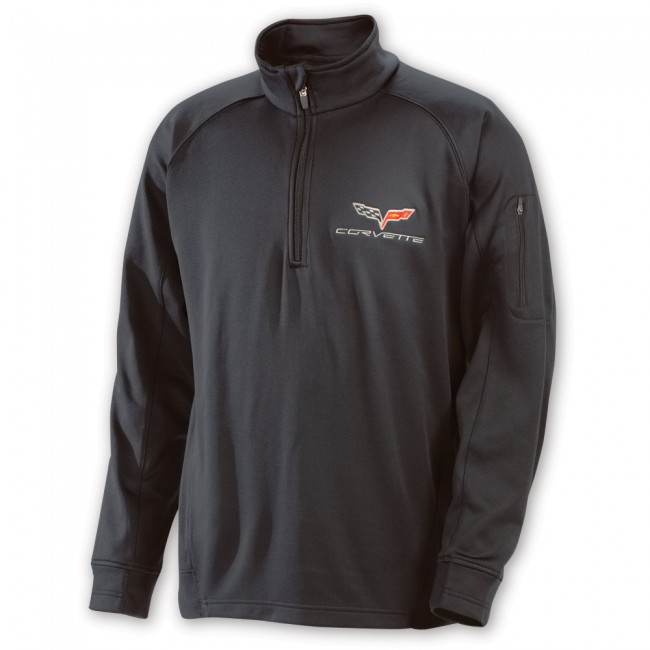 C6 Corvette, Crossed Flag Logo Quarter-Zip Pullover - Black