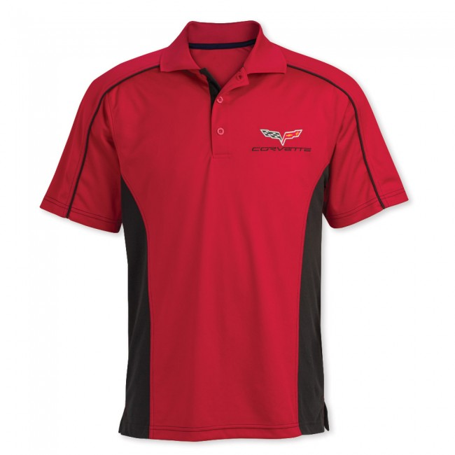 C6 Corvette, Mens C6 Performance Colorblock Polo - Red/Black