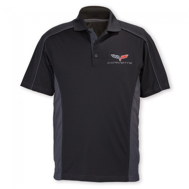 C6 Corvette, Mens C6 Extreme Performance Colorblock Polo - Black/Carbon
