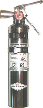 Chrome Halotron 1-Stored Pressure 2.5LBS Fire Extinguisher Corvette