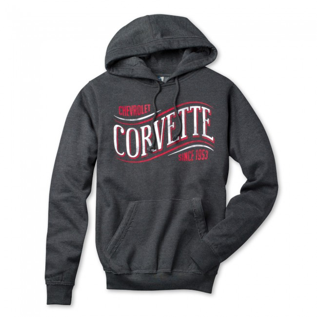 Corvette Wave Hooded Sweatshirt,   Heather Black
