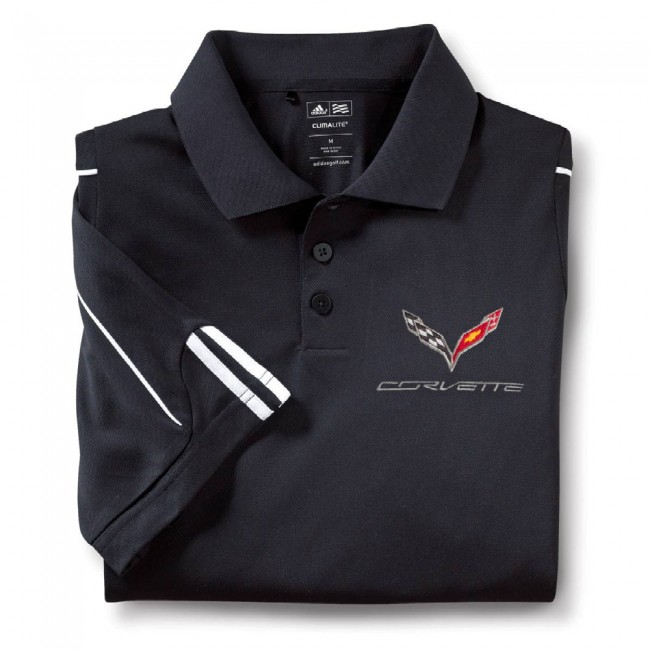 C7 Corvette, Mens Stingray Adidas Performance Polo  Black