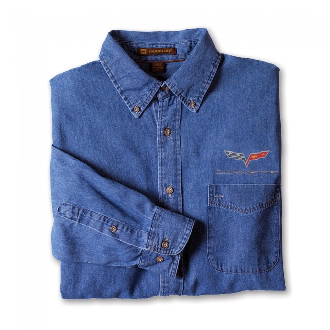 C6 Corvette, Mens C6 Flag Logo Denim Shirt - Light Denim