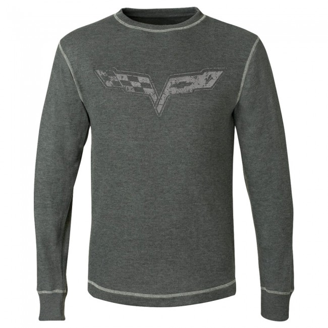 Corvette C6 Vintage Corvette Thermal, Log Sleeved Shirt, Charcoal Heather