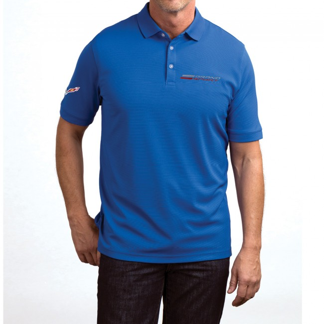 C7 Corvette, Mens Grand Sport Texture Polo - Blue