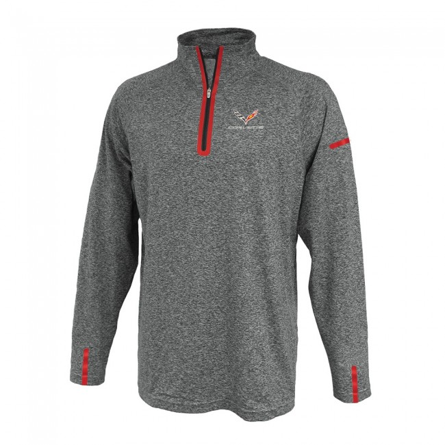 Corvette C7 Laser Accent Quarter-Zip Fleece Shirt - Heather Gray