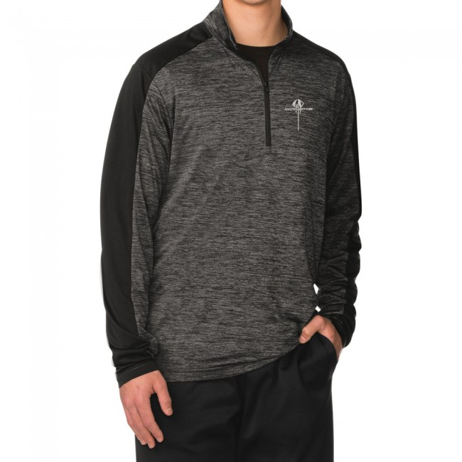 C7 Corvette, Mens C7 Stingray Quarter- Zip Pullover - Gray Black / Electric Black