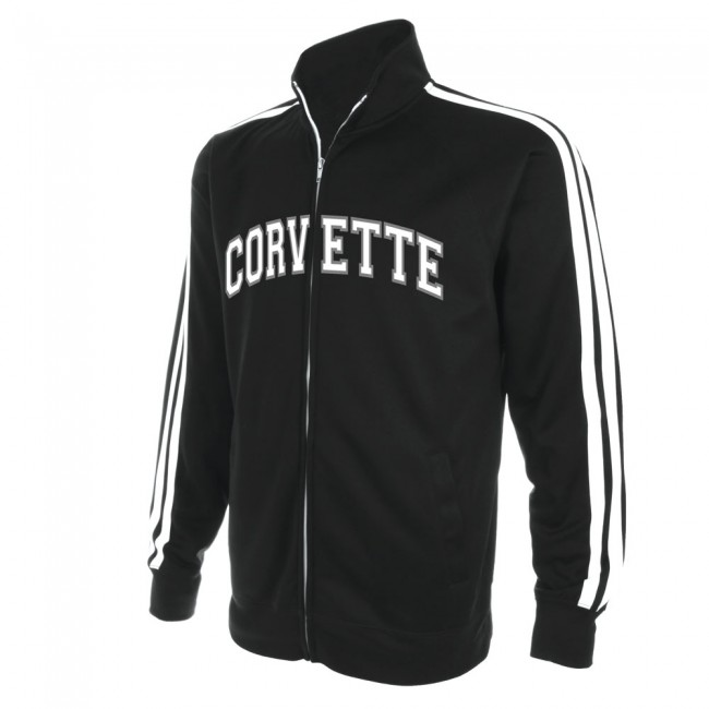Corvette Full-Zip Track Jacket ,  Black C7 crossed flags embroidered on back