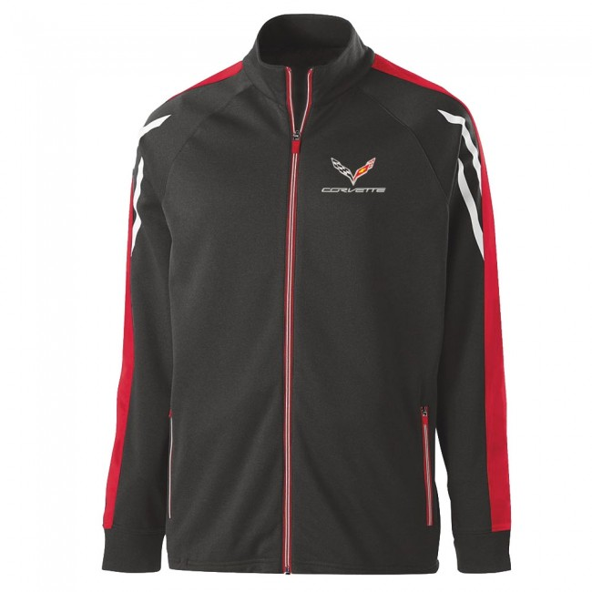 Corvette C7 Crossed Flag Logo Corvette Tri-Color Jacket Black Heather, Scarlet & White