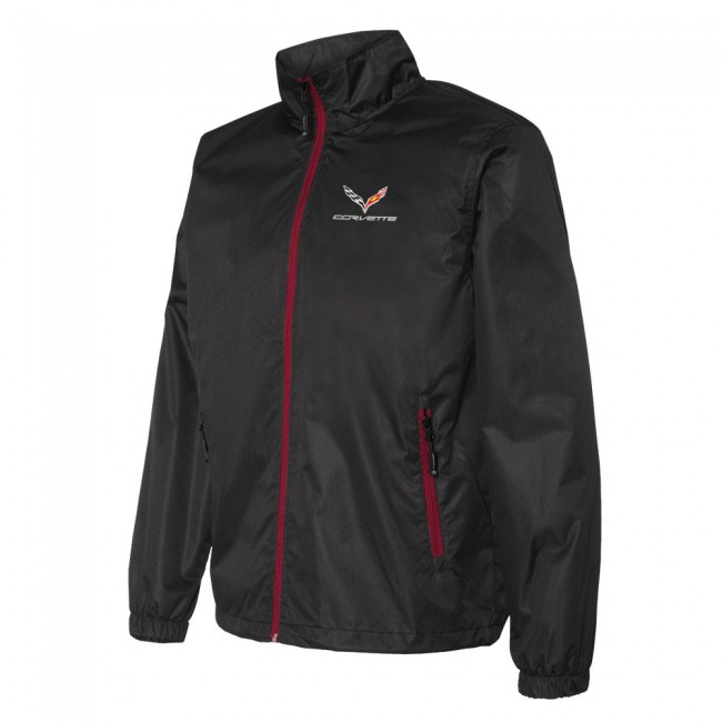 Corvette C7 Crossed Flag Logo Stormtech Contender Jacket , Black/Red