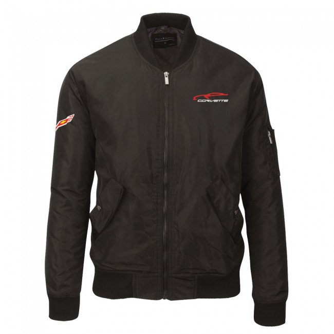 Corvette C7 Crossed Flag Logo Wingover Bomber Jacket   Black