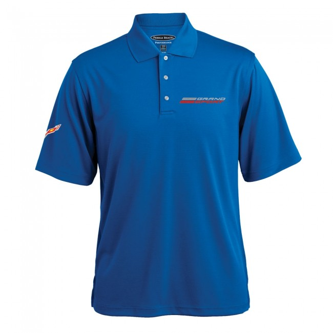 C7 Corvette, Mens Grand Sport Texture Polo - Cobalt
