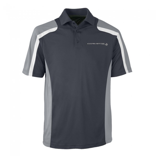 C7 Corvette, Mens Stingray Fast Lane Polo Shirt - Carbon/Gray
