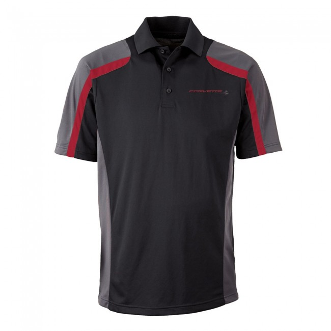 C7 Corvette, Mens Stingray Fast Lane Polo Shirt - Black/Red