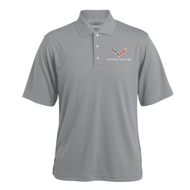 C7 Corvette, Mens 100% Polyester Textured Polo Shirt - Gray Heather