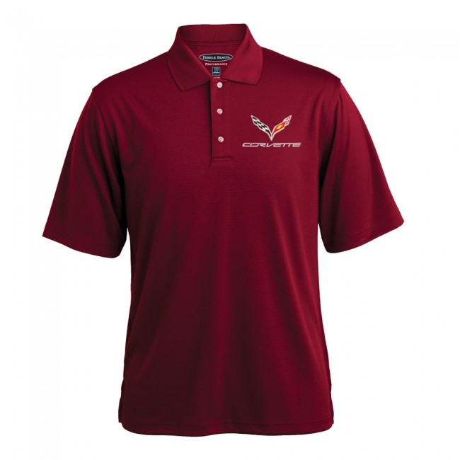 C7 Corvette, Mens C7 Texture Polo Shirt - Deep Red