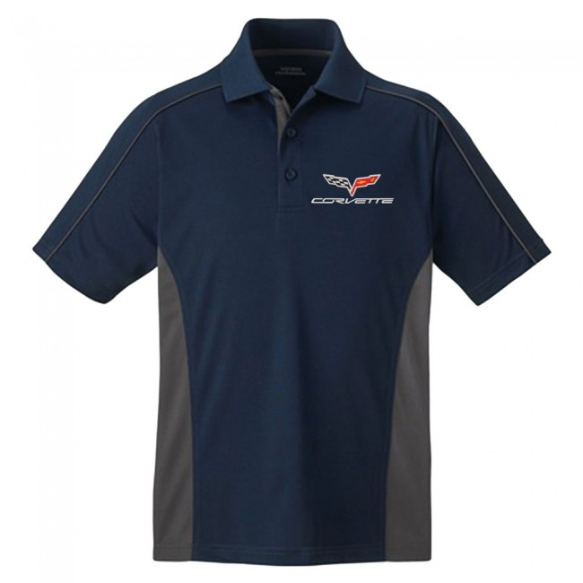 C6 Corvette, Mens C6 Performance Colorblock Polo - Navy/Gray