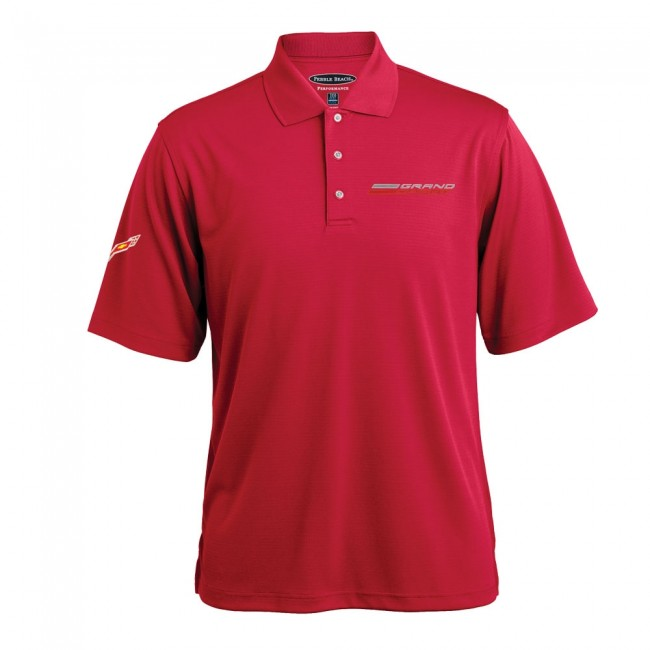 C7 Corvette, Mens Grand Sport Texture Polo - Crimson Red