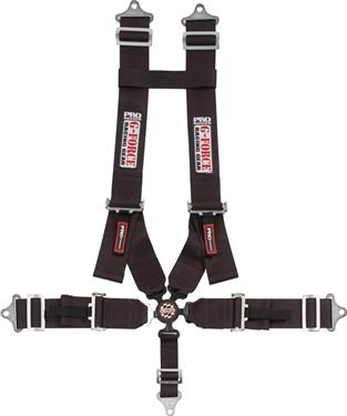 G-Force 7501BK Pro Black FIA Rated 6-Point Pull-Down Lap Camlock Individual Shoulder Harness Set